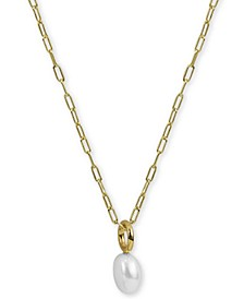 "Freshwater Pearl (8-9mm) 22"" Pendant Necklace in 18k Gold-Plated Sterling Silver"