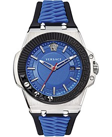Men's Swiss Chain Reaction Blue & Black Silicone Strap Watch 45mm