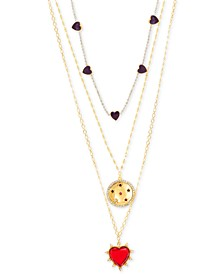 """Gold-Tone Rhinestone Heart Triple-Layer Necklace, 16"""" + 2"""" extender"""
