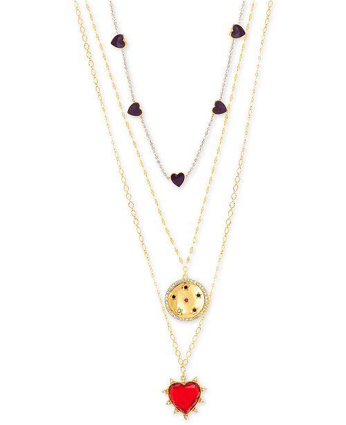 "Steve Madden Gold-Tone Rhinestone Heart Triple-Layer Necklace, 16"" + 2"" extender"