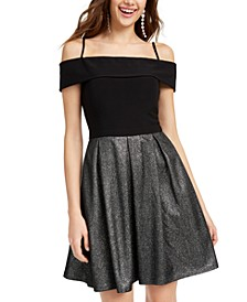 Juniors' Cold-Shoulder Glitter-Skirt Dress