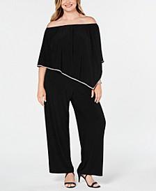 Plus Size Off-The-Shoulder Overlay Jumpsuit