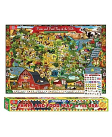 Farm Food Map of The Usa Pictorial Poster