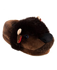 Little and Toddler Boys Lighted Buffalo Plush Slippers