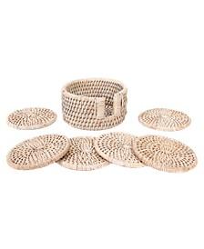 Rattan Round Coasters - 7 Piece Set