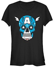 Marvel Women's Avengers Captain America Sugar Skull Short Sleeve Tee Shirt