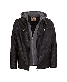 Boys Zip Front Updated Moto with Quilted Design Sleeve Details, Zip Out Fleece Bib and Hood