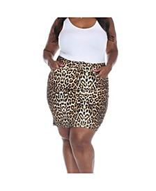 Plus Size Printed Skirt