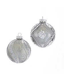 80MM Matte and Shiny Silver with Glitter Glass Ball Ornaments, 6 Piece Box