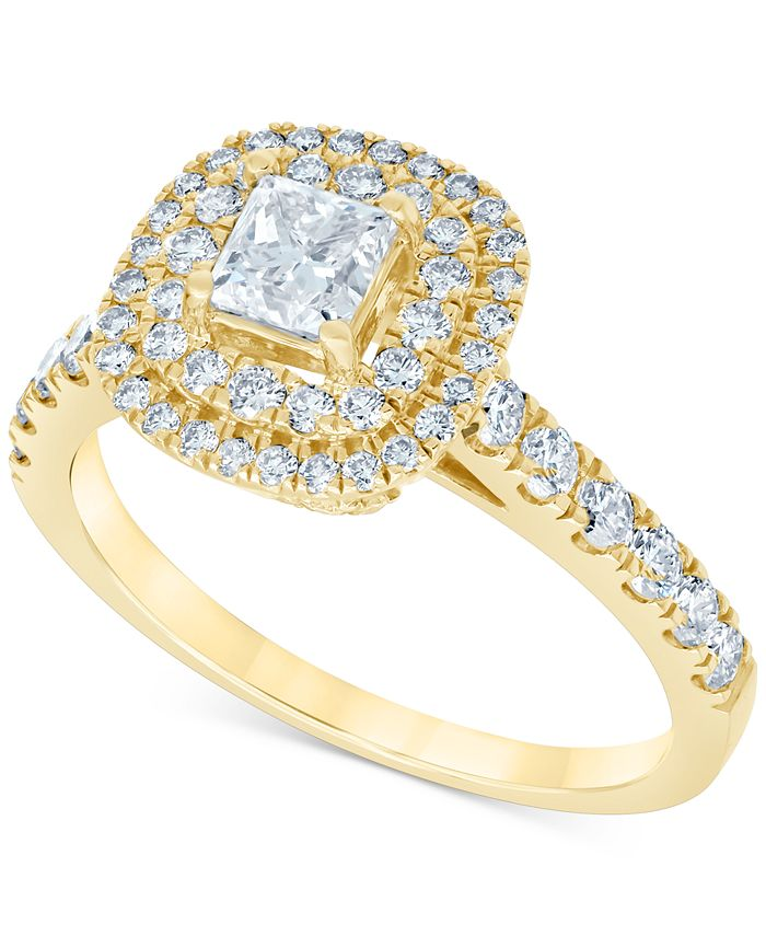 Macy's - Diamond Princess Double Halo Engagement Ring (1-1/3 ct. t.w.) in 14k Gold