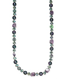 "Silver-Tone Stone & Imitation Pearl Long Necklace, 42"" + 2"" extender, Created For Macy's"