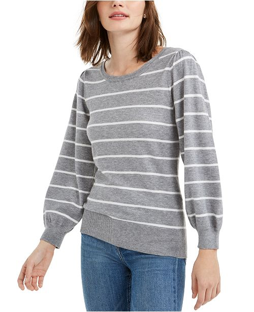 Maison Jules Striped Puff-Sleeve Sweater, Created for Macy's