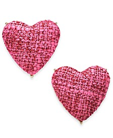 INC Gold-Tone Tweed Heart Stud Earrings, Created for Macy's