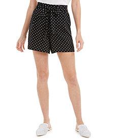 Maison Jules Tie-Belt Polka-Dot Shorts, Created for Macy's