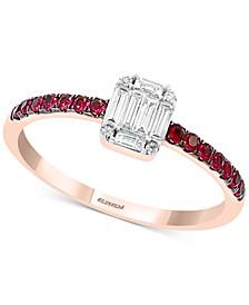Certified Ruby (1/5 ct. t.w.) & Diamond (1/5 ct. t.w.) Ring in 14k Rose Gold
