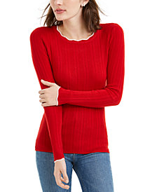 Maison Jules Ribbed Sweater, Created For Macy's