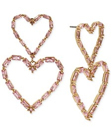 Gold-Tone Crystal Open Heart Double Drop Earrings