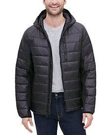 Men's Hooded Puffer with Knit Side Panels