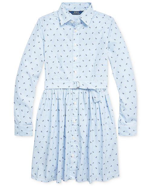 Polo Ralph Lauren Big Girls Anchor Cotton Shirtdress