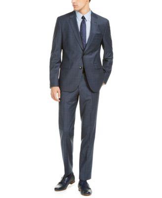 HUGO Hugo Boss Men's Slim-Fit Dark Blue/Rust Plaid Suit Pants