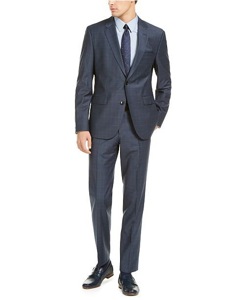 Hugo Boss HUGO Hugo Boss Men's Slim-Fit Dark Blue/Rust Plaid Suit Separates