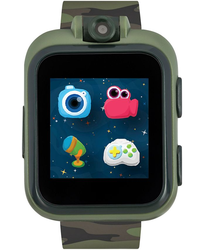iTouch - Unisex PlayZoom Dark Olive Camouflage Strap Touchscreen Smart Watch 42x52mm