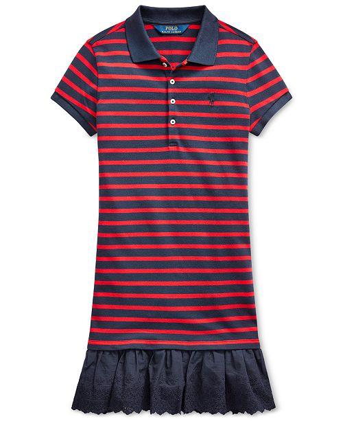 Polo Ralph Lauren Big Girls Eyelet Stretch Mesh Polo Dress