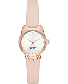 Women's Cat Face Blush Leather Strap Watch 26mm