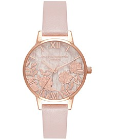 Women's Semi-Precious Rose Vegan Leather Strap Watch 30mm