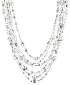 """Silver-Tone Crystal & Imitation Pearl Multi-Strand Necklace, 16"""" + 3"""" extender"""