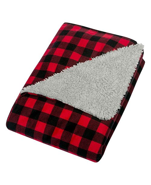 Trend Lab Buffalo Check Flannel and Sherpa Baby Blanket