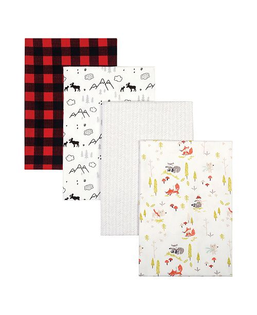 Trend Lab Buffalo Check Woodland Flannel Receiving Blanket 4-Pack