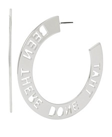 BEEN THERE DONE THAT Affirmation Cut-Out Large Hoop Earrings 2-1/2""