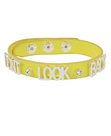 DON'T LOOK BACK Affirmation Leather-Look Snap Bracelet
