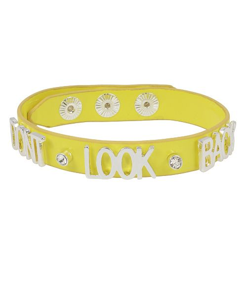 BCBGeneration DON'T LOOK BACK Affirmation Leather-Look Snap Bracelet