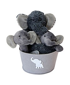 Elephant 4-Piece Plush Baby Gift Set Bucket