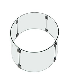 Boulder Fire Pit Table Tempered Glass Wind Screen