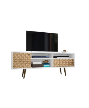 """Manhattan Comfort Liberty 70.86"""" Mid Century - Modern Tv Stand With 4 Shelving Spaces And 1 Drawer In White"""