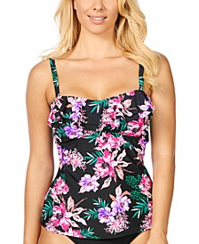 In Your Dreams Tahiti Printed Ruffled Tankini, Created For Macy's