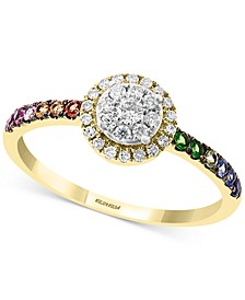 EFFY® Multi-Gemstone (1/5 ct. t.w.) & Diamond (1/4 ct. t.w.) Halo Cluster Statement Ring in 14k Gold