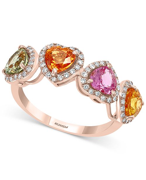 EFFY Collection EFFY® Multi-Sapphire (2-3/8 ct. t.w.) & Diamond (1/4 ct. t.w.) Heart Ring in 14k Rose Gold