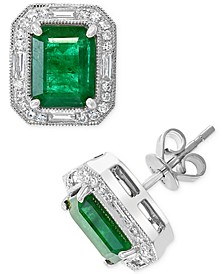 EFFY® Emerald (2-7/8 ct. t.w.) & Diamond (1/3 ct. t.w.) Stud Earrings in 14k White Gold and 14k Yellow Gold