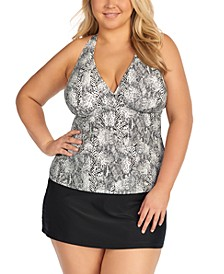 Trendy Plus Size H-Back Tankini Top & Bottoms, Created for Macy's