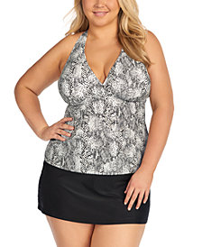 Island Escape Trendy Plus Size H-Back Tankini Top & Bottoms, Created for Macy's
