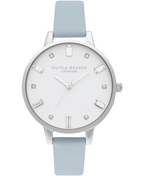 Olivia Burton Women's Chalk Blue Vegan Leather Strap Watch 34mm