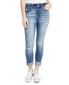 Indigo Rein Juniors' Ripped Cuffed Double-Button Skinny Jeans