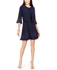 Petite Lace-Trim Dress & Bell-Sleeve Jacket