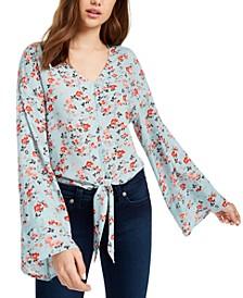 Juniors' Floral Print Tie-Waist Blouse