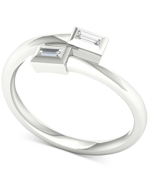 Macy's Diamond Double Baguette Bypass Ring (1/10 ct. t.w.) in 10k White Gold