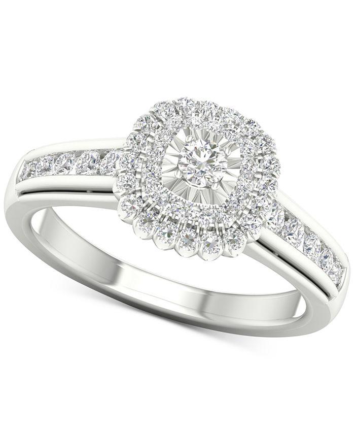 Macy's - Diamond Halo Ring (1/2 ct. t.w.) in Sterling Silver
